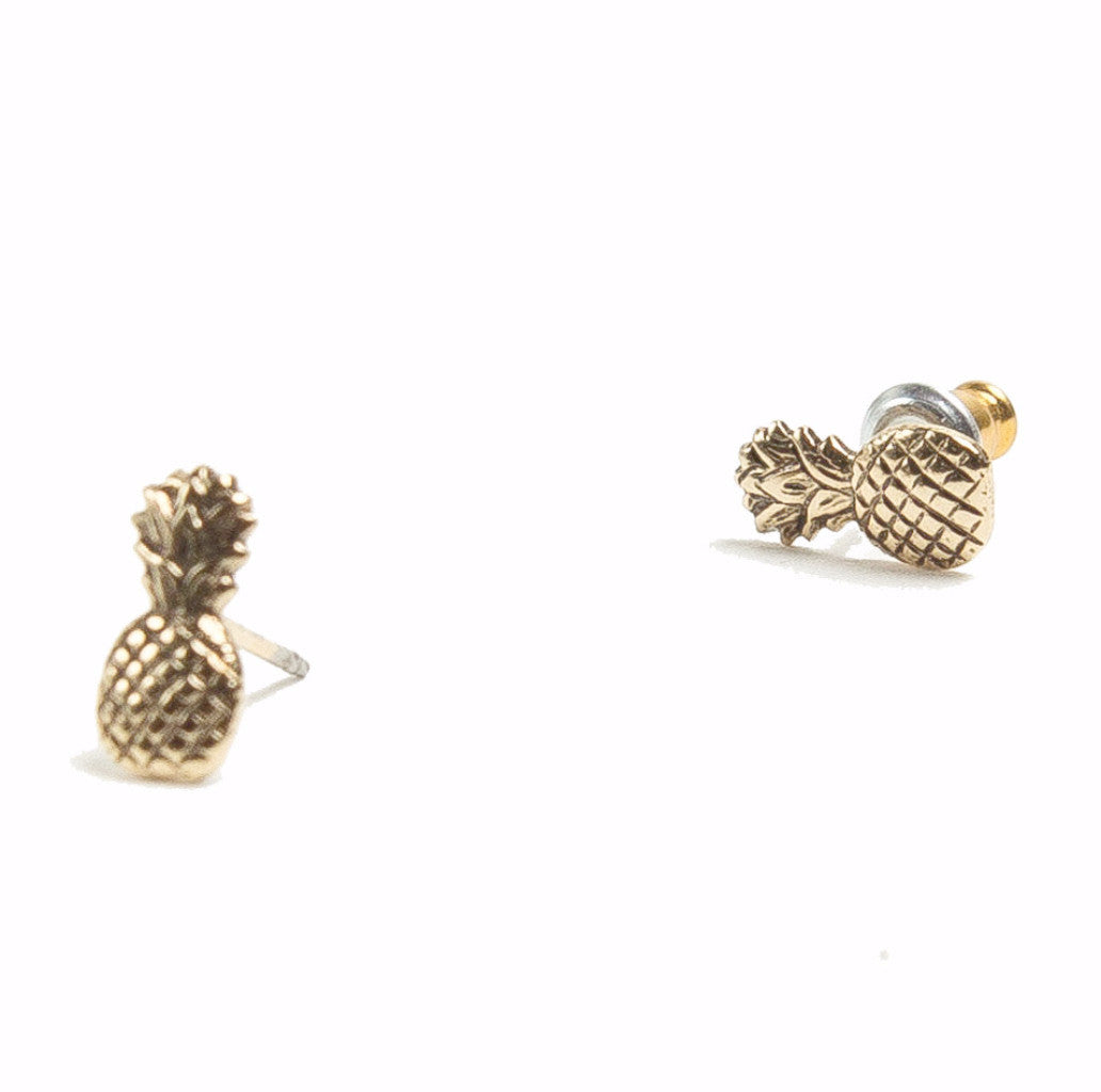 dogeared earrings pineapple sterling stud silver open studs