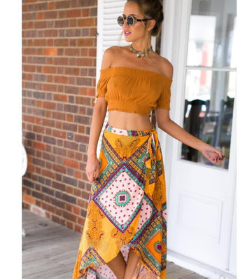 Asymmetrical Printed Skirt