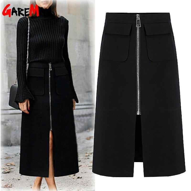 Plus Size Skirts for Women  Office Casual Midi  Women's Pencil Skirt with Zip Long Black Skirt with High Waist Large Size