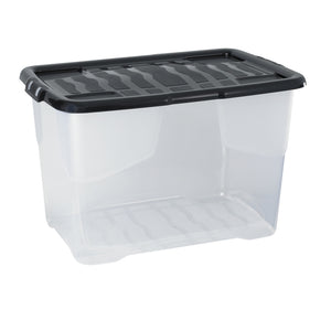 60L Curve Box Clear With Single Piece Lid