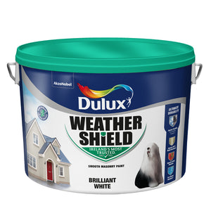 Dulux Weathershield Smooth Masonry White Paint 10 LTR  + 1 Ltr Free