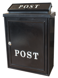 Die Cast Alu Post Box  Plain Blk
