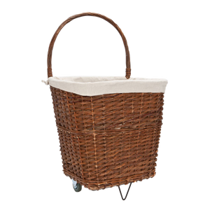 Natural Wicker Log Cart With Jute Liner