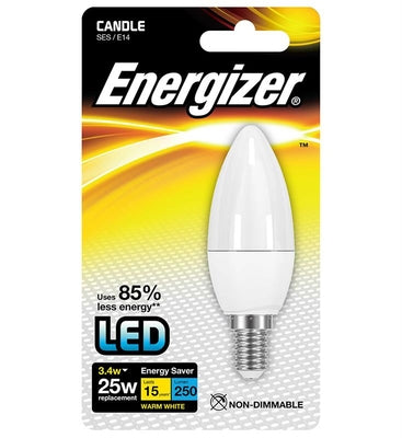 Energizer LED 3.4W (25W) Opal Candle Lamp - Warm White