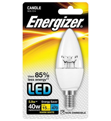 Energizer LED 5.9W (40W) Clear Candle Lamp - Warm White