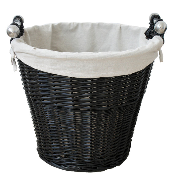 Round Black Wicker Basket With Liner & Handles