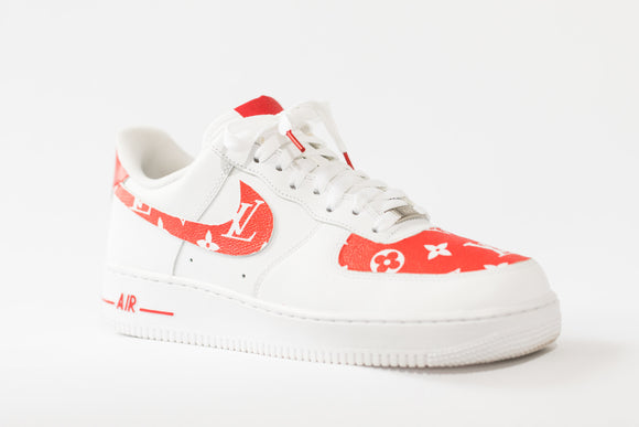 Nike AF1 Custom 'LV x SUPREME Red Leather' Edition