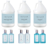 Infuse Gallon & Dispenser Set | 1-Shoppe All-In-Kit | Shampoo Conditioner Body Wash Gallon with Pumps | Refillable 10.14 oz. Matching Pump Bottles | (Complete Set)
