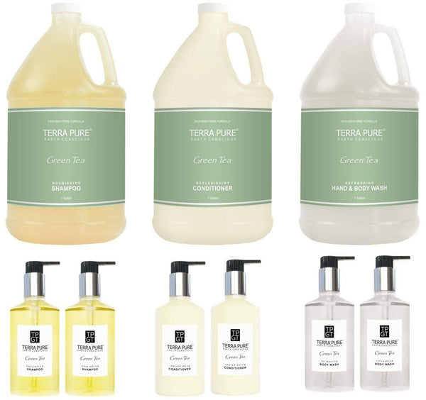 Terra Pure Gallon & Dispenser Set | 1-Shoppe All-In-Kit | Shampoo Conditioner Body Wash Gallon with Pumps | Refillable 10.14 oz. Matching Pump Bottles | (Complete Set)