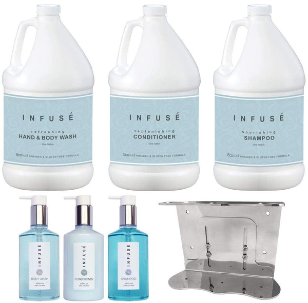 Infuse Gallon & Dispenser Set | 1-Shoppe All-In-Kit | Shampoo Conditioner Body Wash Gallons | Refillable 10.14 oz Matching Pump Bottles | Stainless Steel Shower Wall Bracket | (Set w/Bracket)