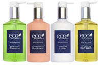 Eco Botanics Amenities Set,10.14 oz. Pumps (1 of Each) Shampoo, Conditioner, Hand/Body Wash, and Lotion