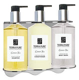 Terra Pure Green Tea | Amenities Shower Soap Set | 10.14 oz. | Tamper Proof Wall-Mounted Locking Bracket | (1 of Each)