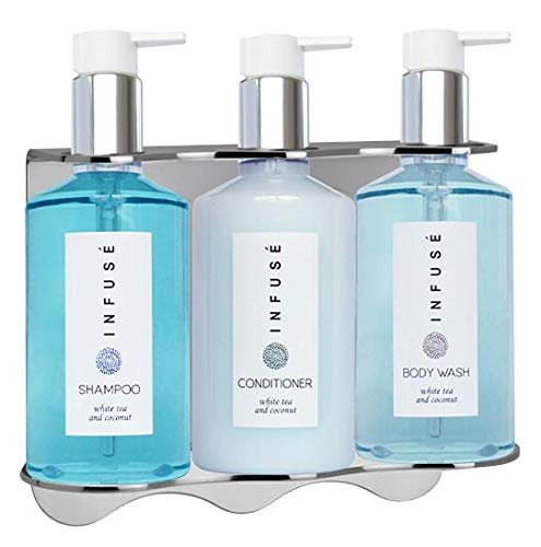 Infuse Amenities Dispenser | Shower Soap Set | 10.14 oz. | Tamper Proof Wall-Mounted Locking Bracket | (1 of Each)