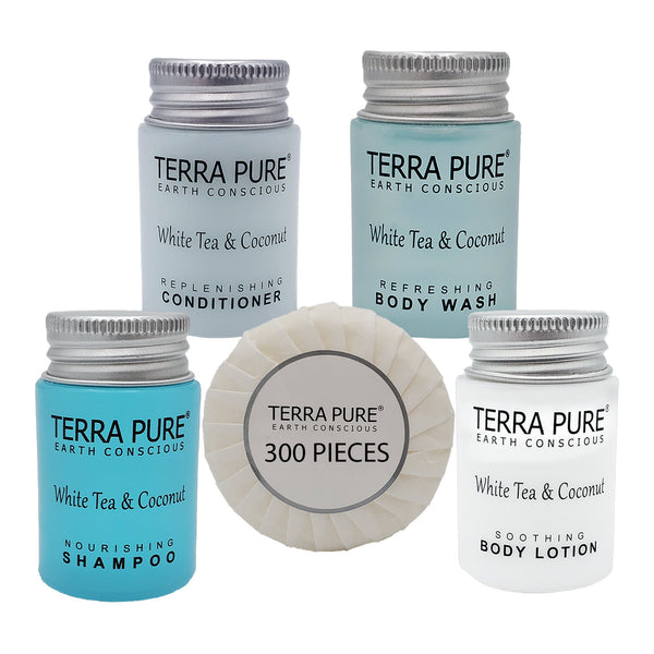Terra Pure White Tea & Coconut Hotel Size Toiletries Set | 1-Shoppe All-In-Kit | 1 oz. Liquids and 1.25 oz. Bar Soap | Amenities For Hotels, Airbnb & Rentals | (300 pieces)
