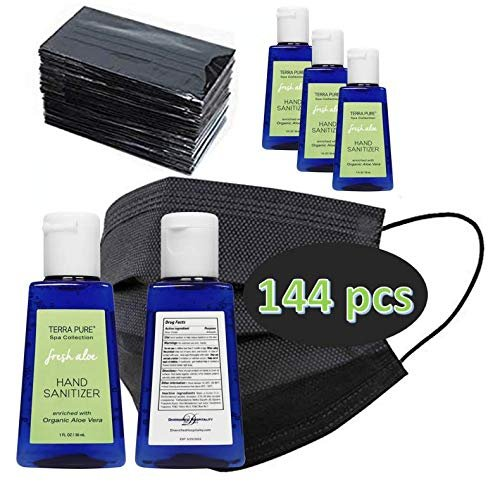 Terra Pure PPE Kit | Bulk Alcohol Free Hand Sanitizer Gel | Individually Wrapped Disposable Face Masks | Ideal for Hotel, Motel and Vacation Rental for Guest Hospitality | 144 pcs
