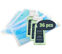 Terra Pure PPE Kit | Bulk Hand Sanitizer Gel | Individually Wrapped Disposable Face Masks | Ideal for Hotel, Motel and Vacation Rental for Guest Hospitality | 36 pcs