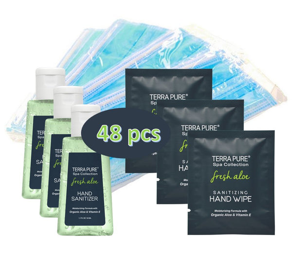 Terra Pure PPE Kit | Bulk Hand Sanitizer Wipes Individually Wrapped | Hand Sanitizer Gel | Disposable Face Masks | Ideal for Hotel, Motel and Vacation Rental for Guest Hospitality | 48 pcs