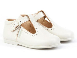 Angelitos Baby Boys EU 23 Angelitos - Spanish Leather Cream T-Bar Shoes