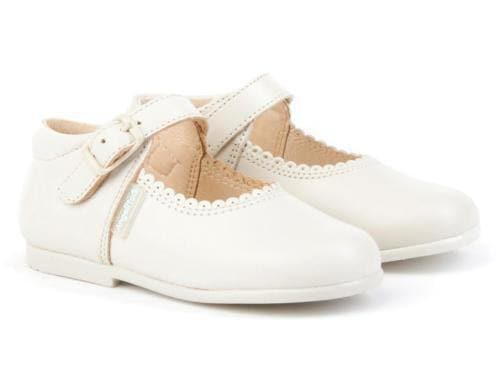 Angelitos Footwear Angelitos - Cream Leather Mary Jane Shoes
