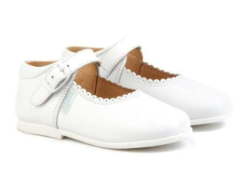 Angelitos Footwear Angelitos - White Leather Mary Jane Style Shoes