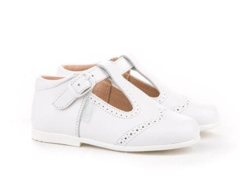 Angelitos Footwear Angelitos - White Leather T-Bars