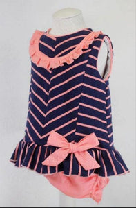 Basmarti Baby Girls Dress Basmarti SS21 - Navy & Coral Baby Dress & Knickers
