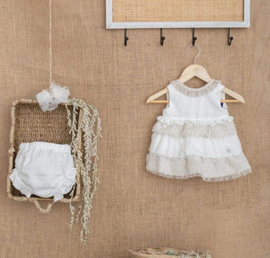 Basmarti Baby Girls Dress Basmarti SS21 - Nowra Cream & Beige Baby Dress & Knickers