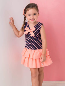Basmarti Girls Dresses Basmarti SS21 - Navy & Coral Drop Waist Ruffle Dress