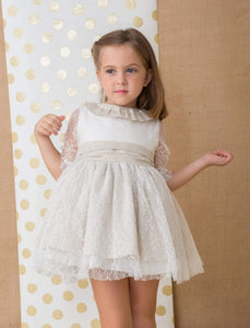 Basmarti Girls Dresses Basmarti SS21 - Nowra Cream & Beige Lace detail Dress