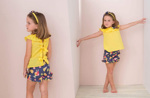 Basmarti Girls Sets Basmarti SS21 - Yellow & Navy Ice Cream Print Shorts Set