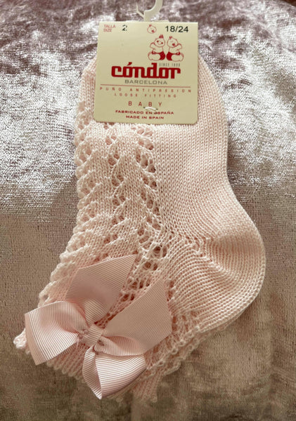 Condor Socks & Tights Condor - Open Knit Ankle Socks Pink & Cream