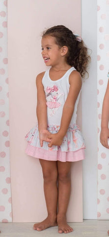 Cuka Girls Dresses Cuka 21 -  White, Pink & Blue Bunny Print Summer Dress