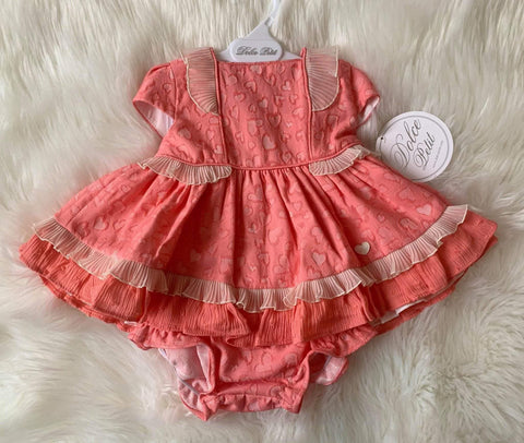 Dolce Petit Baby Girls Dress Dolce Petit SS20 - Coral & Cream Heart Print Dress with Matching Knickers 2132VB