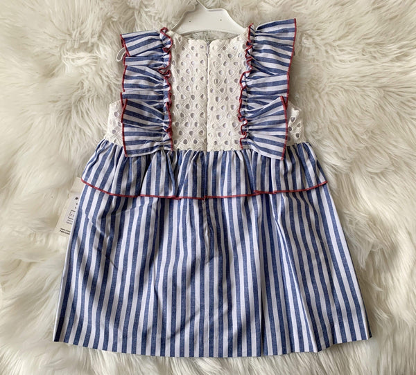 El Copo Girls Dresses El Copo - Blue Stripe Dress with Pink Bow