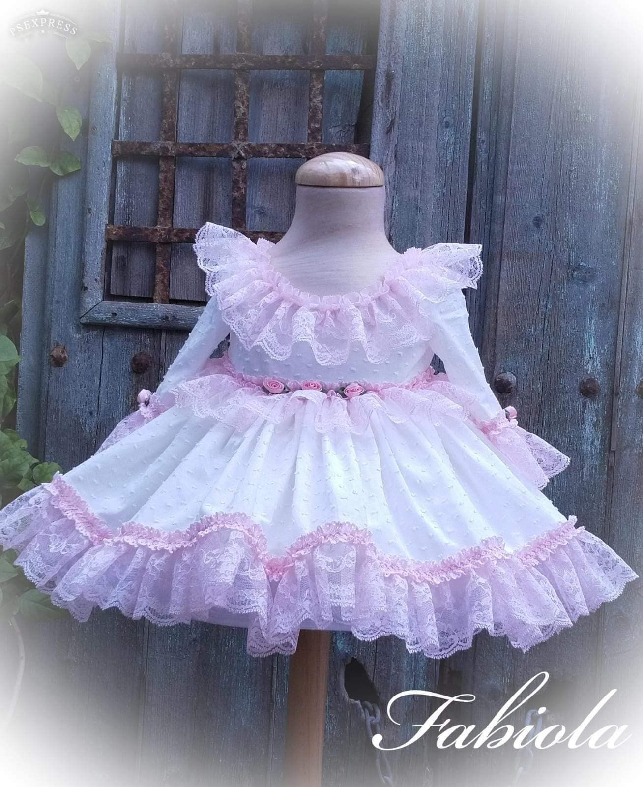 Exclusive Girls Dresses Exclusive - White & Pink Rose & Lace Princess Puffball Fabiola Dress