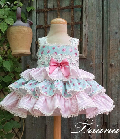 Exclusive Girls Dresses Triana Blue & Pink Floral Ruffle Dress Made to Order