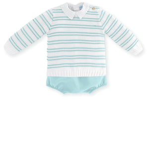 Mac Ilusion Baby Boys Mac Ilusion - Boys Knitted Jumper, Shirt & Shorts Set Turquoise