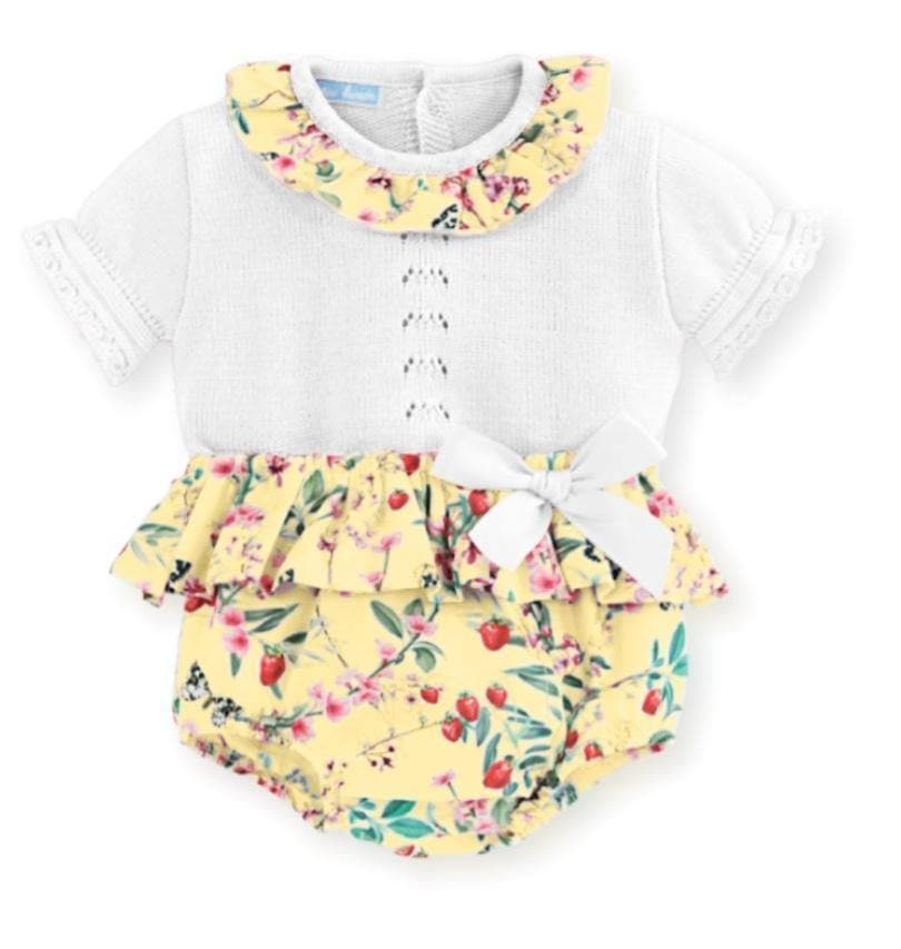 Mac Ilusion Baby Girls Dress Mac Ilusion SS20 - White & Yellow Floral Print Jam Pants Set