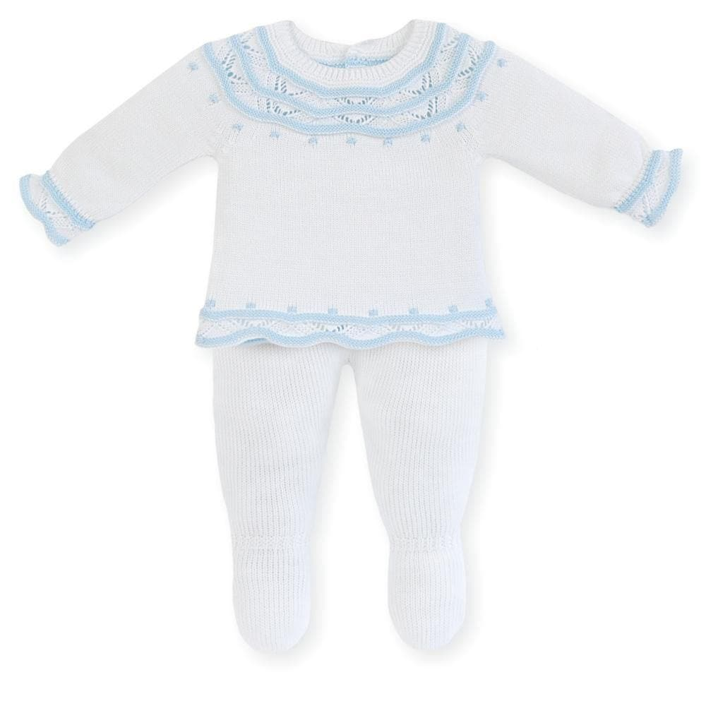 Mac Ilusion Baby Knitwear Mac Ilusion - 2pc Knitted Set in White & Blue / Pink or Grey