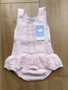 Mac Ilusion Baby Knitwear Mac Ilusion - Knitted Sleeveless Romper with Ruffle in Pink or White