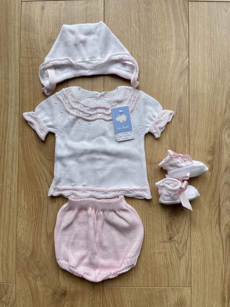 Mac Ilusion Baby Knitwear Mac Ilusion - White & Baby Blue 4pc Knitted Set