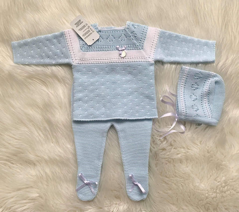 Mariposa Children's Boutique Baby Knitwear 3m Baby Knitwear AW20 - 3pc Baby Blue & White Knitted Set