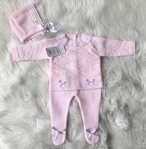 Mariposa Children's Boutique Baby Knitwear Baby Knitwear AW20 - 3pc Baby Pink & White Knitted Set