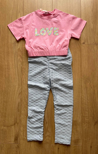 Mariposa Children's Boutique Loungewear Loungewear - Blue Honeycomb Leggings with Pink Love T-Shirt Top