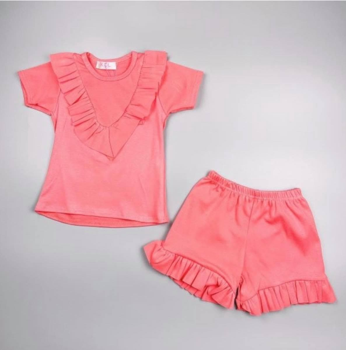 Mariposa Children's Boutique Loungewear Loungewear - Girls Coral Ruffle T-Shirt & Shorts