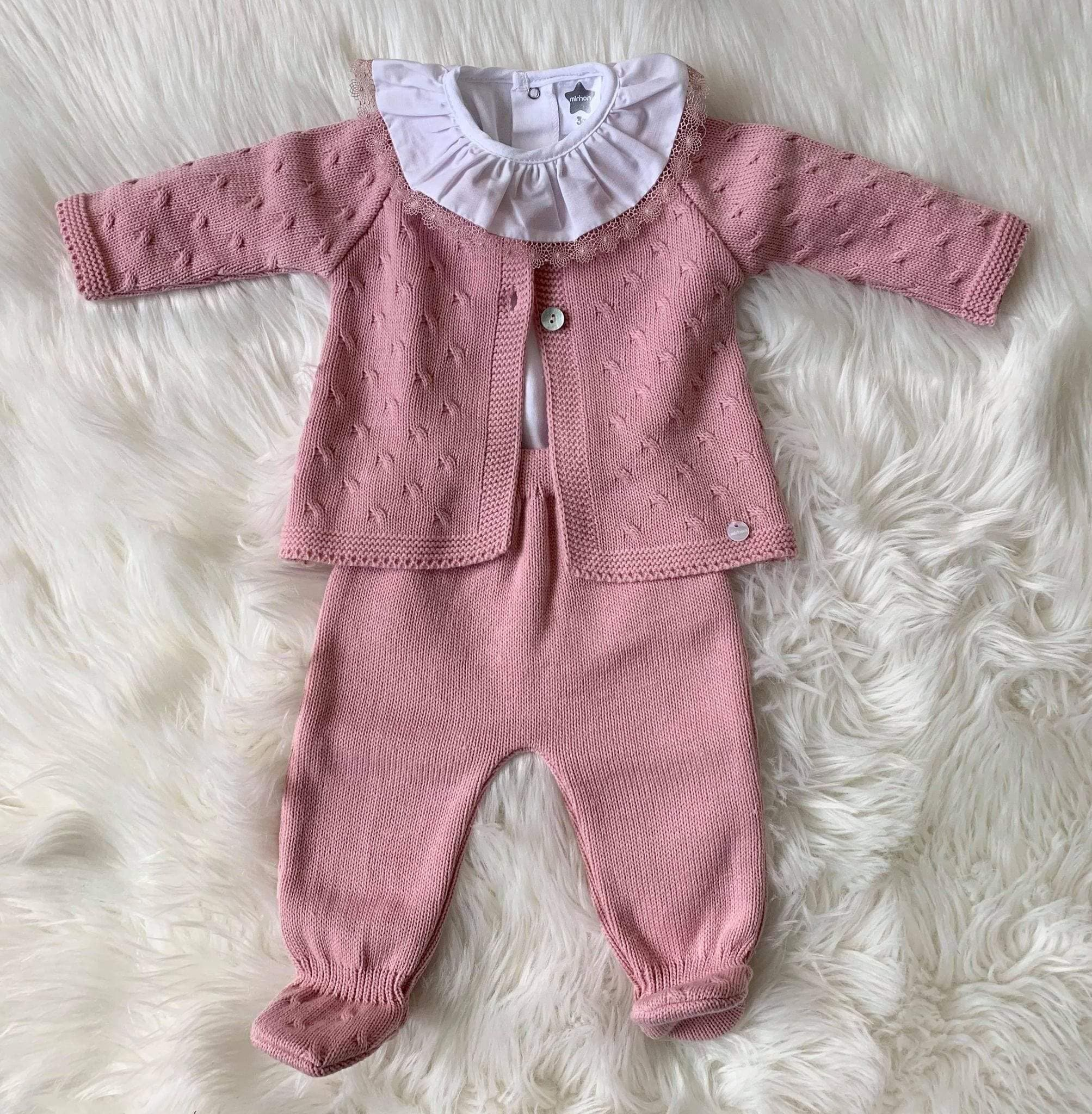 Minhon Baby Knitwear Minhon AW20 - Dusky Pink Knitted 3pc Set with Frill Collar Bodysuit