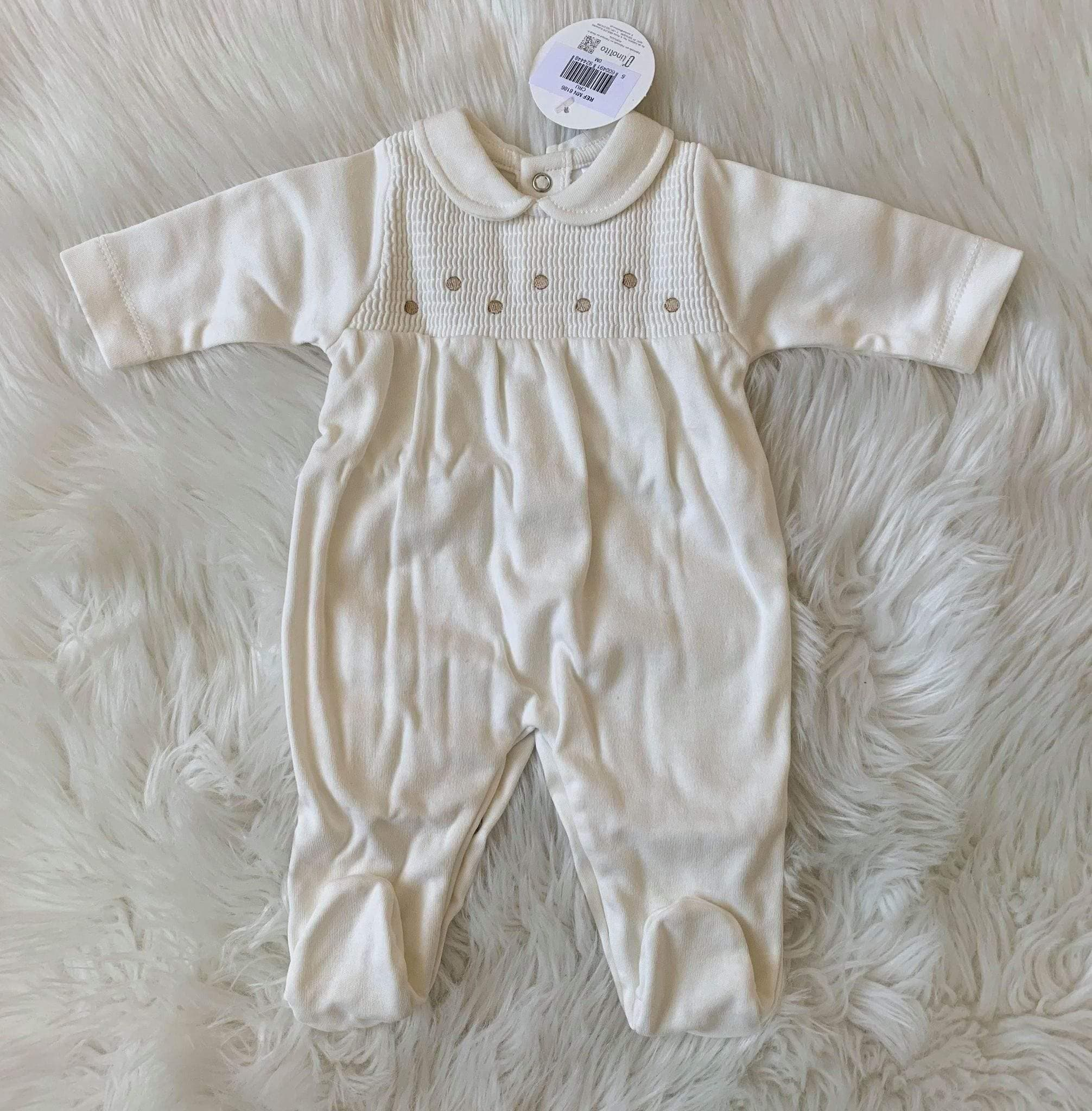 Minhon Babygrows Minhon AW20 - Smocked Cream Romper Suit