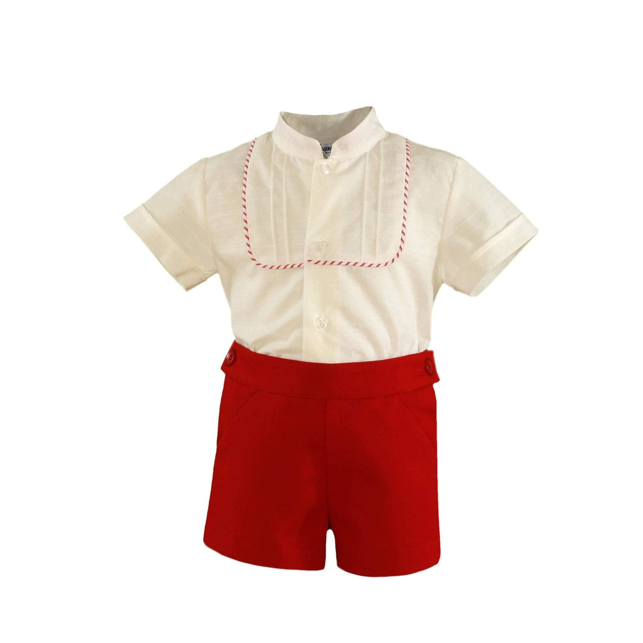 Miranda Baby Boys Miranda SS21 PRE-ORDER -  Baby Boys Red Shorts with Matching Cream Shirt 152-23