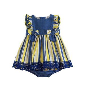 Miranda Baby Girls Dress Miranda SS21 PRE-ORDER - Blue & Yellow Stripe Baby Dress & Knickers 150VB