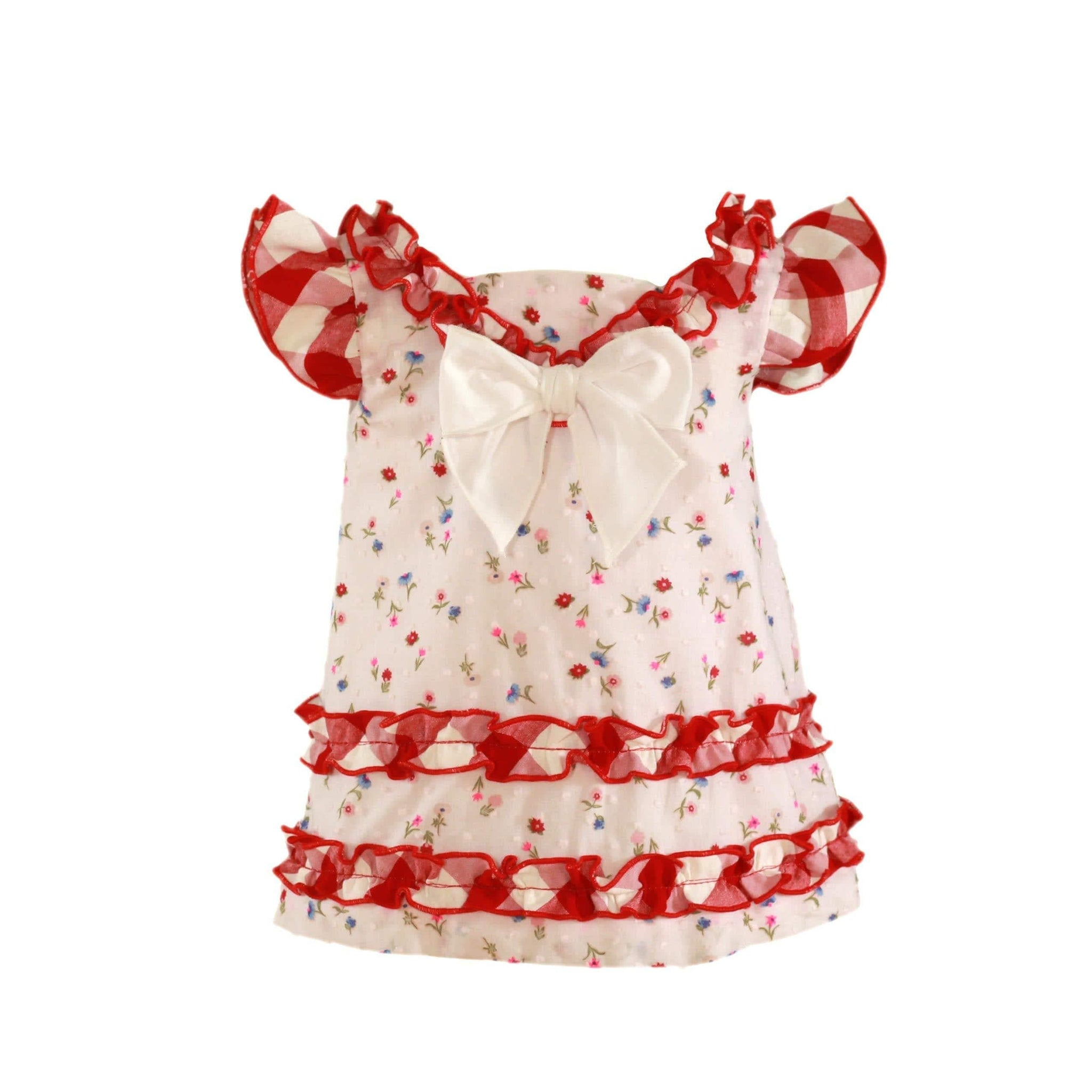 Miranda Baby Girls Dress Miranda SS21 PRE-ORDER - Red & Cream Floral Print Baby Summer Dress 76V